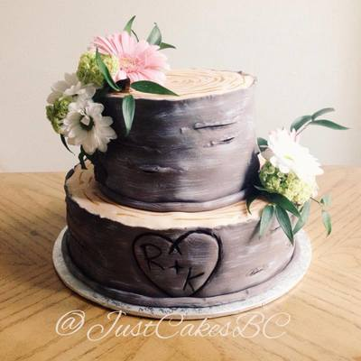 A Romantic Tree Stump Bridal Shower Cake Inspired By The Talented Kaysie Lackey on Cake Central