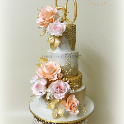 50Th Golden Anniversary Floral Cake