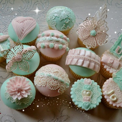 Pastel Jade And Pastel Pink Birthday Cupcakes