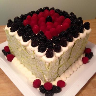Banana, Coconut, Pineapple, Chocolate Chunk Cake With Vanilla Buttercream And Fresh Raspberries And Blackberries With A Lime Chocolate...