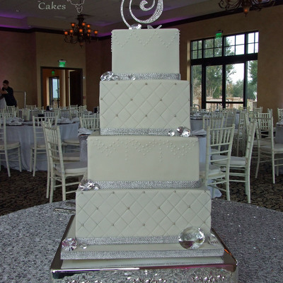 4 Square Tiered Bling Wedding Cake
