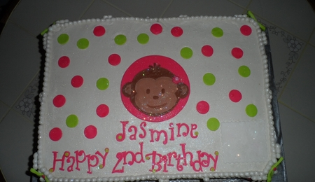 Pink green mod monkey girl cake for Monkey face template for cake