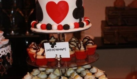 Casino Birthday Cake Topper With Three Different Types Of Mini Cupcakes