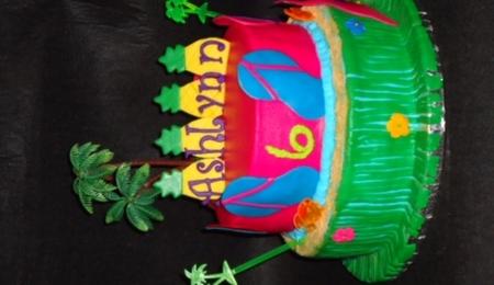 Hawaiian Shirt Birthday Cake Flip Flops