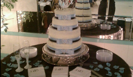 wedding cakes 4 tier round blue and ivory wedding cakes cakecentral 23754
