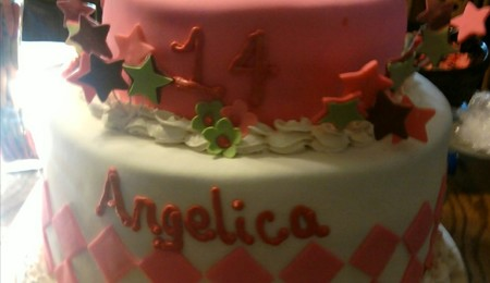 2 tiered princess birthday cake for Angelica cake decoration