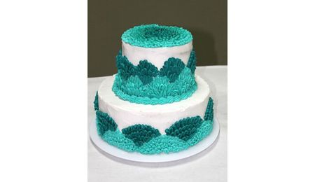 Turquoise Ombre Ruffle Wedding Style Cake - CakeCentral.com