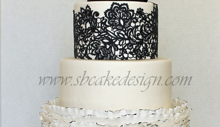 black lace wedding cakes lace and frilled ruffle wedding cake cakecentral 11869