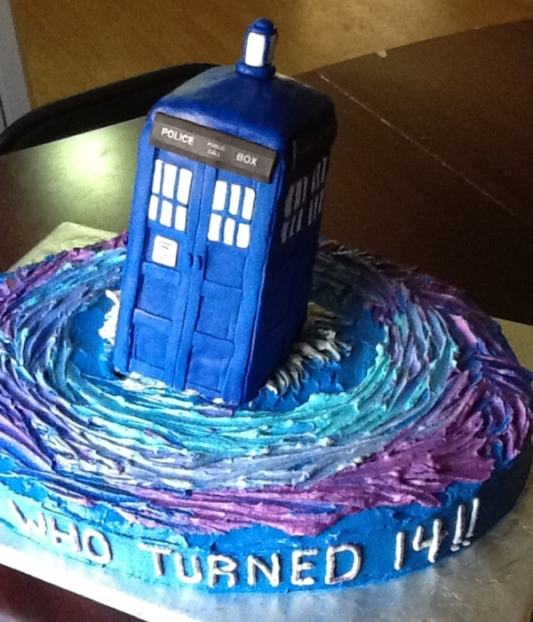 Birthday Cake For Dr Who Fan Tardis Made Of Rice Krispies And Fondant Marble Cake With Buttercream Frosting