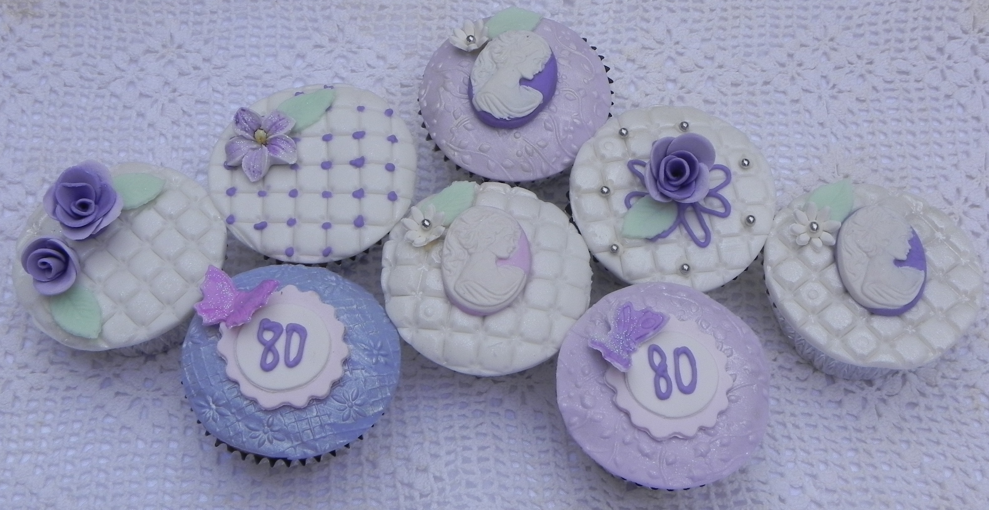 Cupcake Decorated With Fondant Sugar Flowers And Cameos