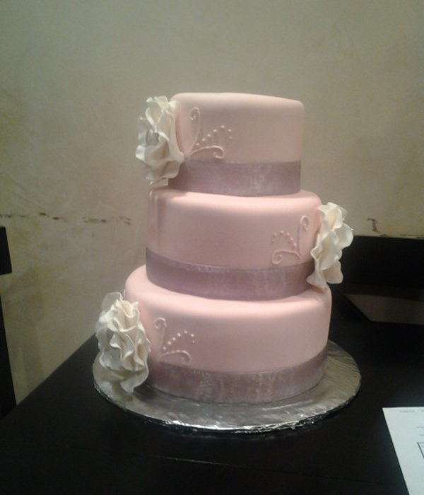 Mauve Fantasy Flower Wedding Cake
