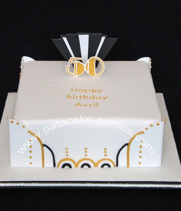 50Th Birthday Art Deco Cake