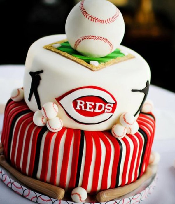 Grooms Cake For A Reds Fan Cake Is Vanilla Oreo Filled With Oreo Cream All Decorations Are Fondant Ball Is Rice Cereal Covered In Fond