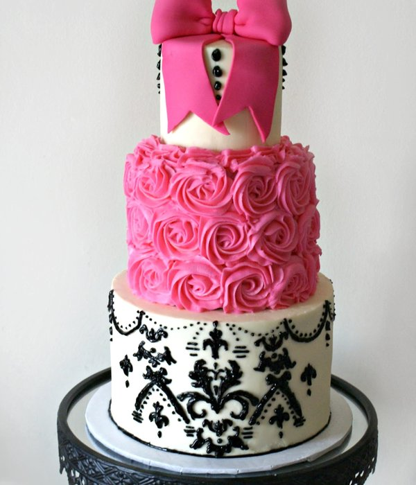 Pink And Black Damask