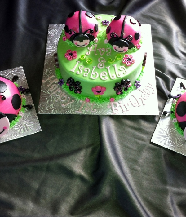 Lady Bug Cake And Smash Cakes For Twin Girls 1St Birthday