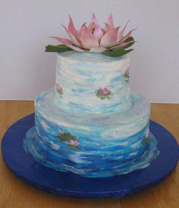 Monet Inspired Cake Lotus Flower Made From Gumpaste Thinned...