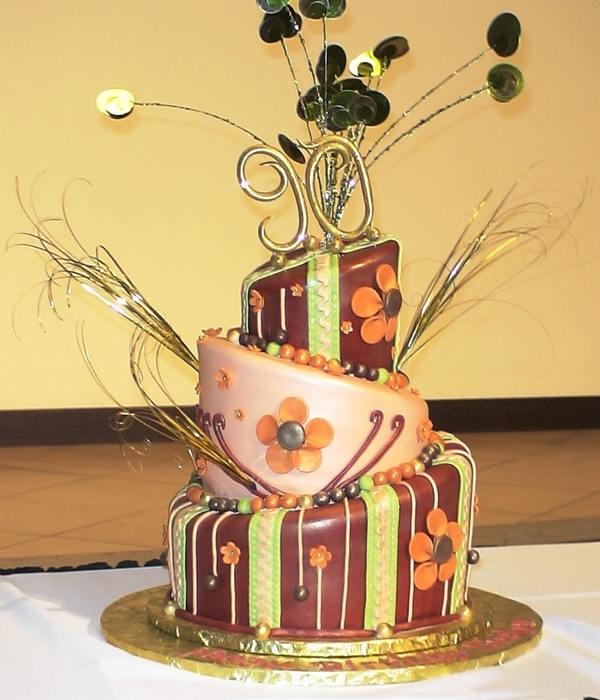 Whimsical Topsy Turvy Cake In Fall Colors