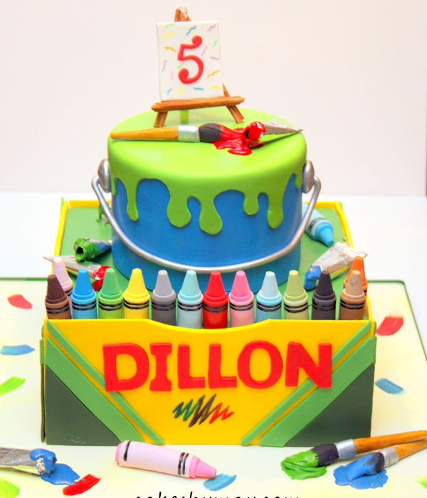 Paint And Crayons Birthday Cake