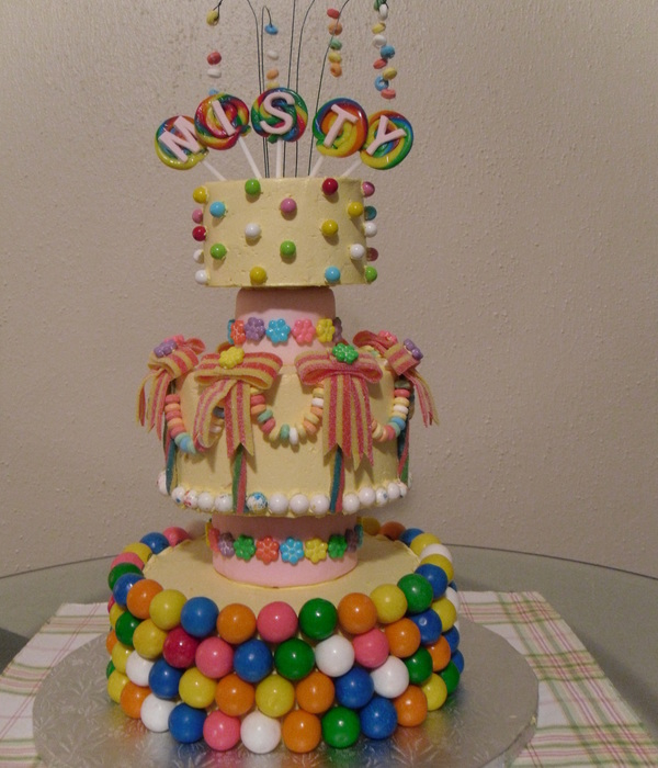 Bc Cake With Gumballs Stuck Around The Whole Bottom Tier Mini Jawbreakers For A Border On Middle Tier Candy Necklace Swags And Sour Rainb
