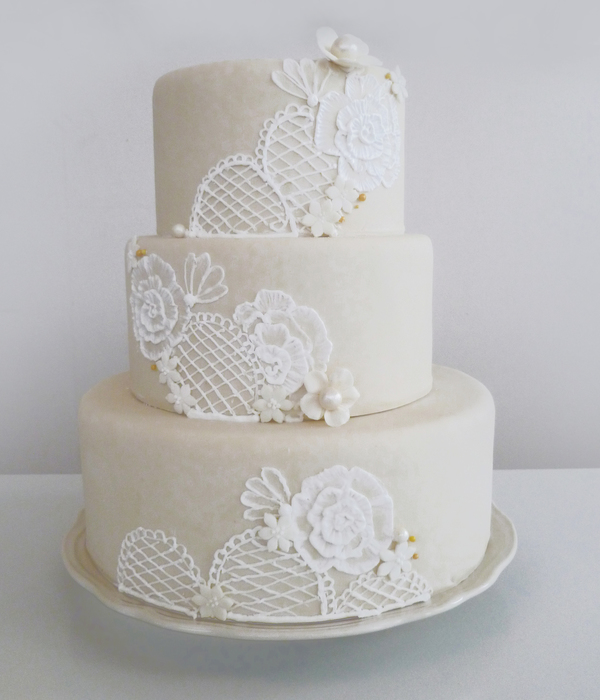 embroidered lace wedding cake white icing beautiful brush embroidery cakes cakecentral 14011