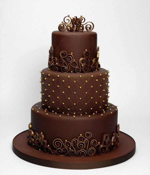 Chocolate & Gold Three Tier