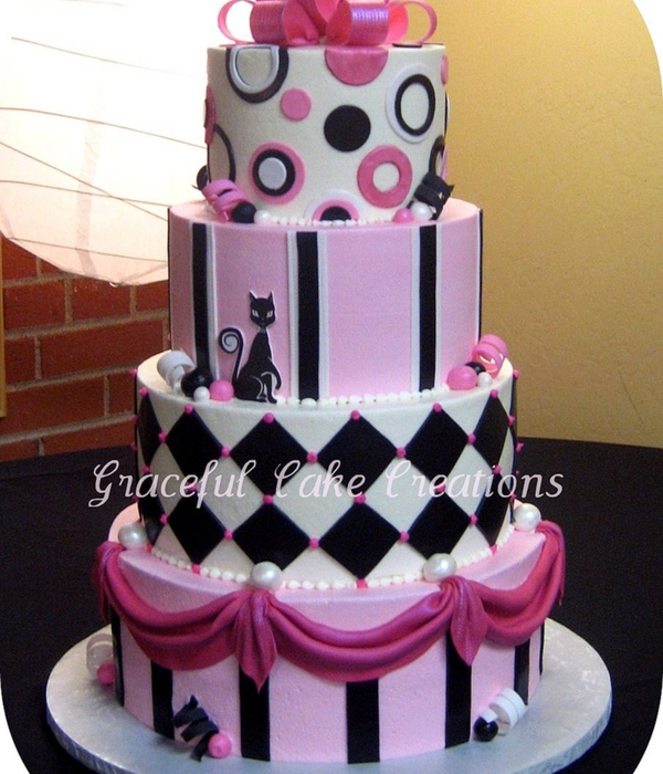 Pink Black And White Whimsical Wedding Cake
