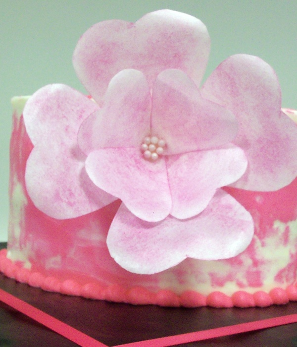 Tried A Wafer Paper Fantasy Flower And A Spackled Cake In...
