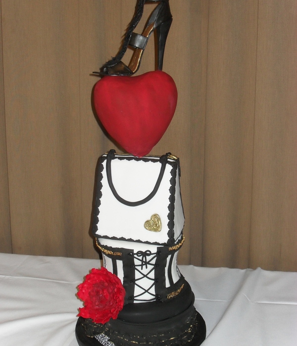 Skirt Bustier And Handbag Are Chocolate Cake Heart If Rkt And Shoe Is Gumpaste