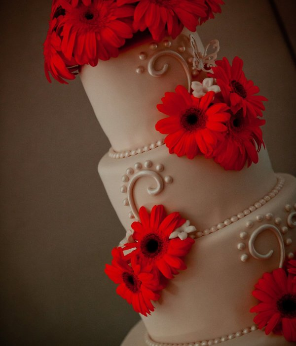 Modern Ivory Cake With Fresh Gerber Daisies
