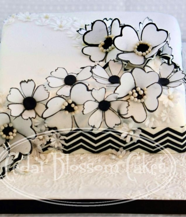Black And White Wafer Flowers Anniversary Cake