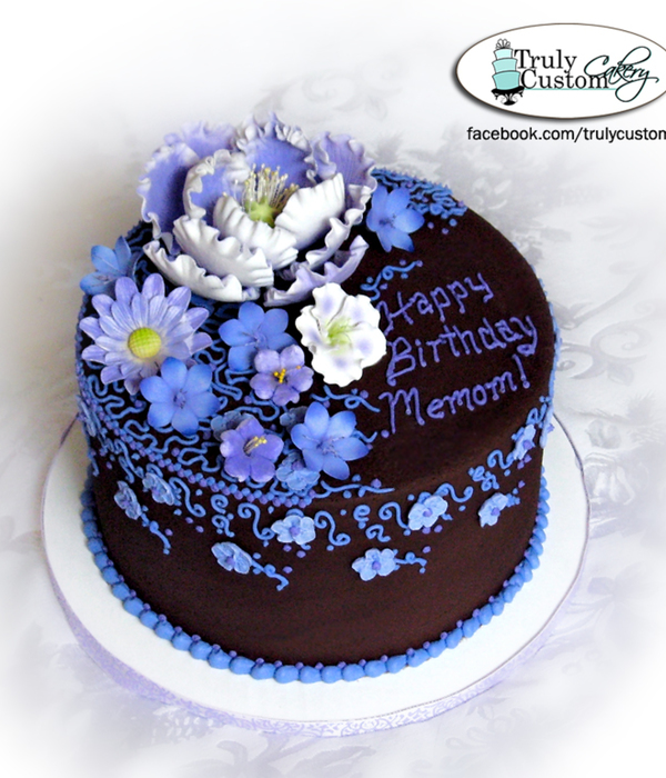 Chocolate Buttercream With Purple & Lavendar Flowers...