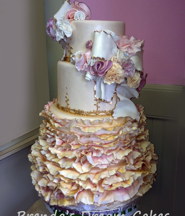 Romantic Ruffled Wedding Cake
