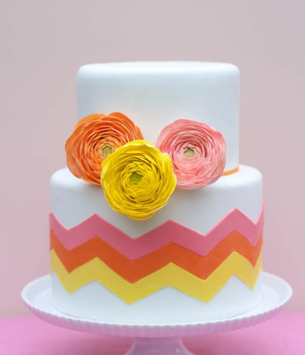 Citrus-Inspired Chevron Cake With Sugar Ranunculus