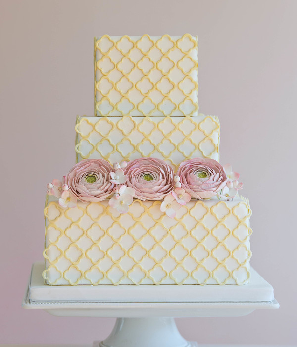 Quatrefoil Cutouts With Sugar Ranunculus And Hydrangea