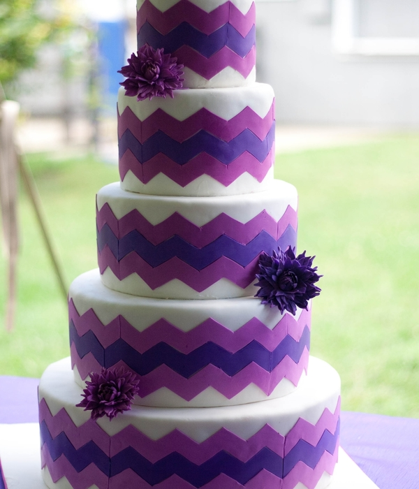 Purple And Magenta Chevron With Sugar Dahlias