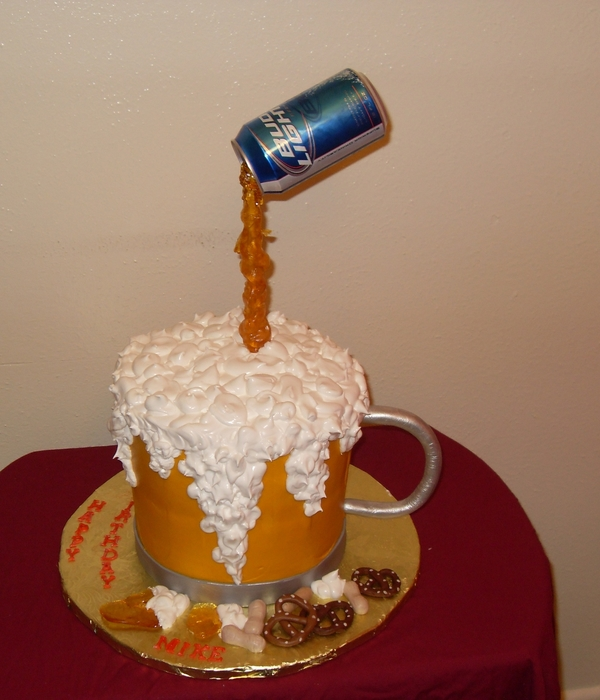 Mike's Beer Mug Birthday Cake