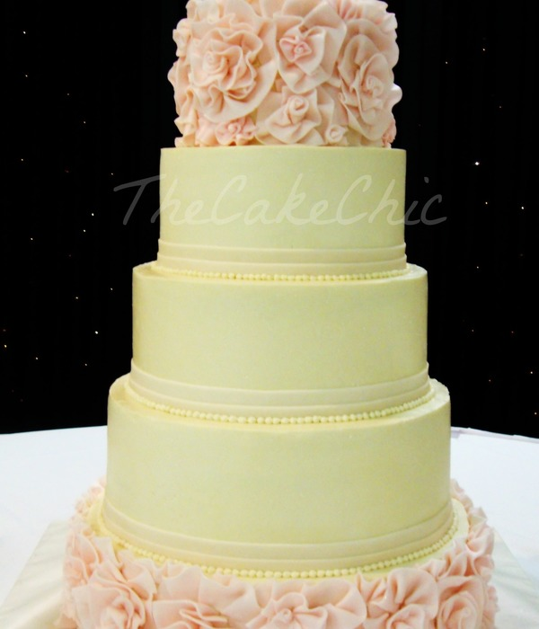 Ivory And Blush Flower Ruffle Wedding Cake From Bottom...