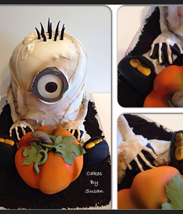 Mummy Minion Halloween Cake