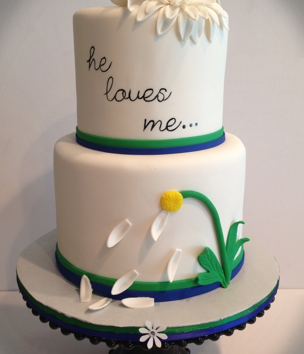 He Loves Me With The Last Love Petal Left Wedding Cake