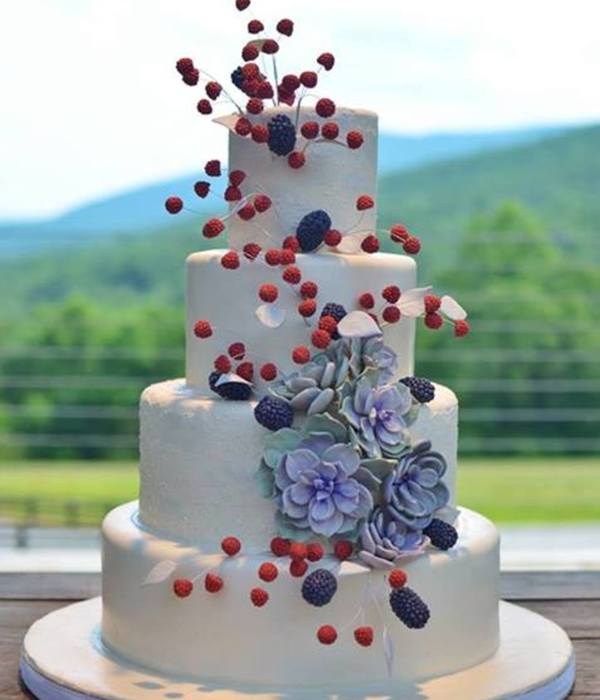 Raspberry Blackberry Succulent Wedding Cake