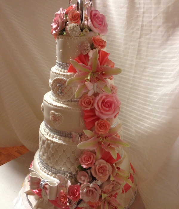 Coral Themed Wedding Cakes Tons Of Sugar Flowers