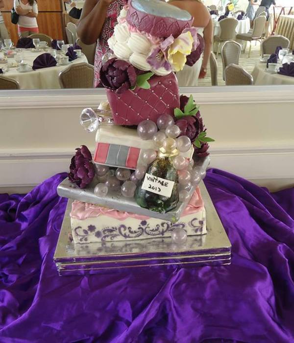 Topsy Turvy Engagement Gift Box Cake Wine Bottle With...