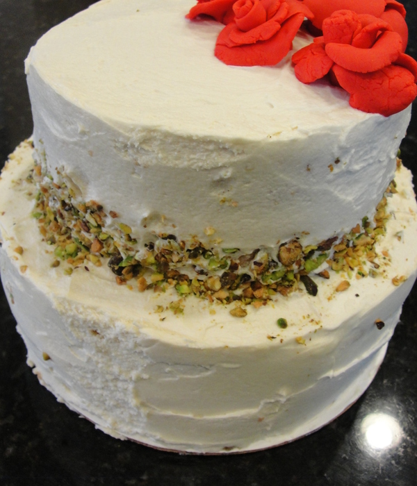 Pistachio Cake With Honey Buttercream And Red Fondant Roses...