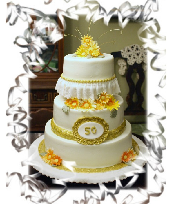 50Th Anniversary Buttercream With Fondant Accents.