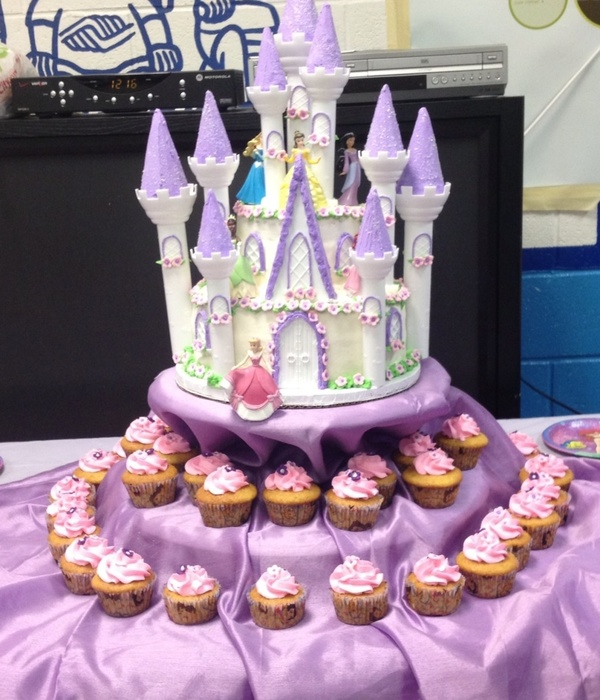 Disney Princess Castle Cake Bottom Tier Vanilla Cake With...