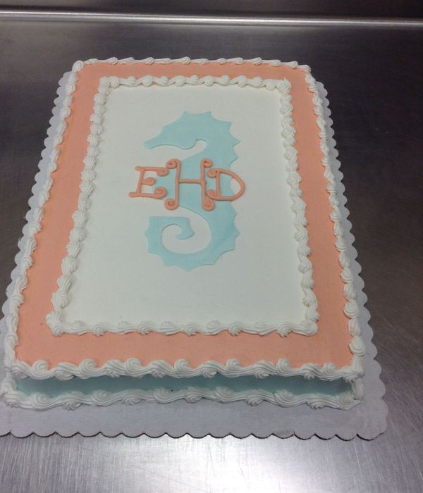 Stenciled Seahorse With Monogram Done In Buttercream