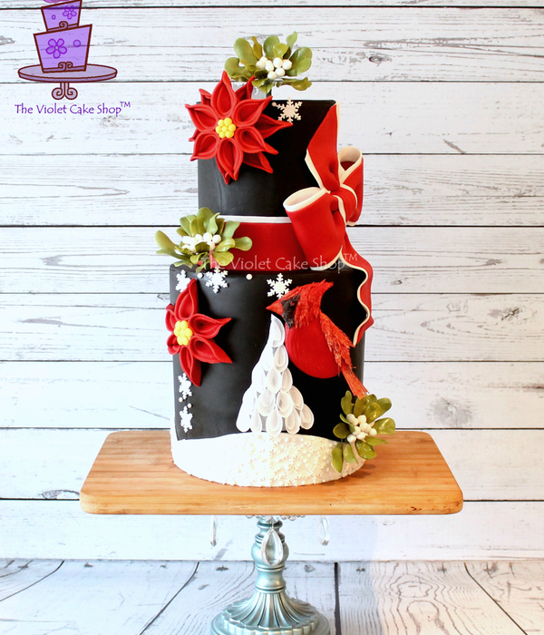 Christmas Cardinal, Stylized Poinsettia & Sugar...