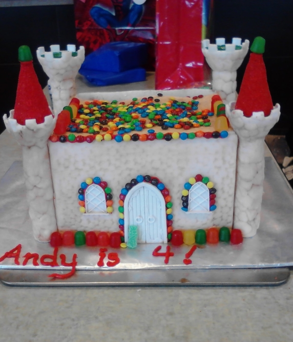 Candy Castle Cake Covered With White Modeling Chocolate (...