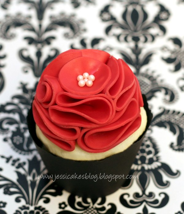 Vintage Ruffle Flower Cupcake Topper