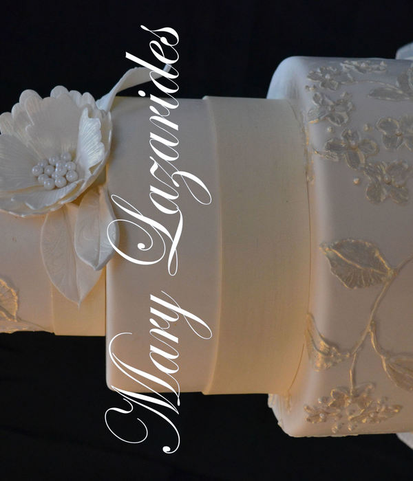 White Wedding Cake With Brush Embroidery